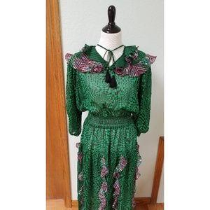 VTG LaChine Blouson Green Pink Elastic Dress